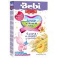 Каша Bebi Premium 4 злака со сливками и персиком с 12 мес. (мол.)